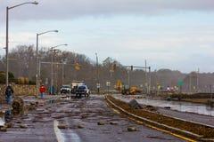 Schade van Zandige Superstorm stock foto's