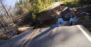 Schaden von der Überschwemmung nahe Fayetteville Lizenzfreies Stockbild
