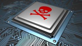 Schadsoftware angesteckter Mikrochip lizenzfreie stockbilder