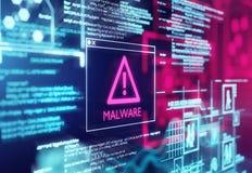 Schadsoftware ermittelte warnenden Schirm stockfotografie