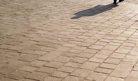 Schaduw op een pavemetweg Stock Foto