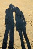 Schaduw op het strandzand Stock Foto
