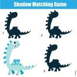 Schaduw passend spel Jonge geitjesactiviteit met dinosaurus stock illustratie