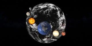 Schaduw van aarde met Zonnestelselplaneten royalty-vrije stock afbeelding