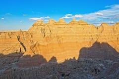 Schaduw van de de Bergrand n van het Badlands de Nationale Park royalty-vrije stock afbeeldingen