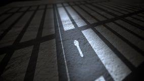 Schaduw van Gevangenisbars en Slot Stock Foto