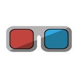 Schaduw van het de bioskoopontwerp van de glazen 3d film Royalty-vrije Illustratie