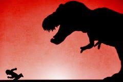 schaduw van tyrannosaurus die mens op muur achtervolgen geen embleem Royalty-vrije Stock Foto's
