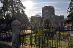 Schaduw voorbij over historisch kasteel stock afbeelding