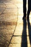 Schaduwen bij zonsondergang Royalty-vrije Stock Afbeelding
