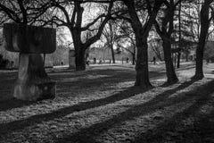 Schaduwen en mensen in het park Royalty-vrije Stock Afbeeldingen