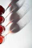 Schaduwen van rode wijnglazen Stock Afbeeldingen