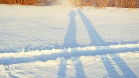 Schaduwen van romantisch paar die op sneeuw in de winter zonnige dag tijdens zonsondergangtijd wandelen Royalty-vrije Stock Fotografie