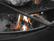Schaduwen van Sinaasappel, Kampvuur in het Close-up van de Brandkuil met het Koken van Rooster en Maaltijd in Folie stock afbeeldingen