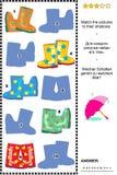 Schaduwspel met kleurrijke gumboots Stock Foto's