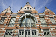 The Schaerbeek railway station. Renovation before the inauguration of the Train World museum. Detail from the front Royalty Free Stock Image