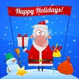 Schaf-Santa Claus-Feiertagsillustration Stockfoto
