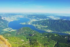 Schafberg, Austria. View from Schafberg on the lake Mondsee, Austrian Alps Royalty Free Stock Photography