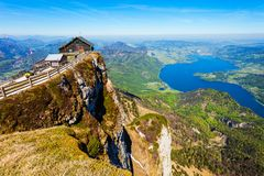 Schafberg viewpoint, St. Wolfgang. Restaurant at the Schafberg viewpoint, Upper Austria. Schafberg viewpoint located in the Salzkammergut region of Austria near royalty free stock photo