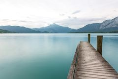 Schafberg from the waters of Mondsee Stock Images