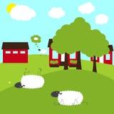 Schafe auf fantastischem Bauernhof Stockbilder