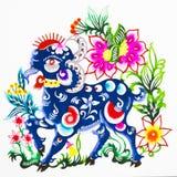 Schafe, Farbenpapierausschnitt. Chinesischer Tierkreis. Stockfoto