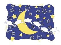 Schafe, gerundeter Mond und Sterne Lizenzfreie Stockfotografie
