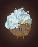 He Schafe mit blauen Blumen Stockfoto
