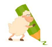 Schafe mit grünem Bleistift Lizenzfreie Stockbilder