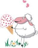 Schafe mit großer Eiscreme Stockfoto