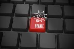 Schaffen Sie auf schwarzer Tastatur mit rotem Schlüssel Stockfotos
