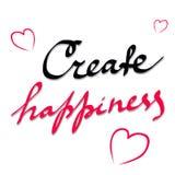 Schaffen Sie Glück Inspirierend Zitat über glückliches Moderne Kalligraphiephrase Beschriftung für Druck, Poster, Logo, Einladung Stockfotos
