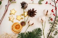 Schaffen Sie große Winterzusammensetzungen handmade Stockfoto