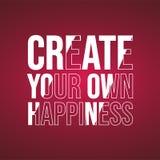Schaffen Sie Ihr eigenes Glück erfolgreiches Zitat mit modernem Hintergrundvektor stock abbildung
