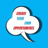 Schaffen Sie Ihre eigenen Gelegenheiten Motiv- und inspirierend Zitat stock abbildung
