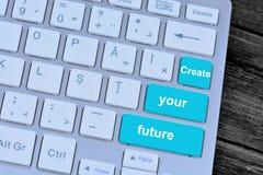 Schaffen Sie Ihre Zukunft auf Tastaturknöpfen Lizenzfreie Stockfotos