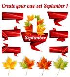 Schaffen Sie Ihren eigenen Satz vom 1. September, Herbstlaub, Bürokratie, Papierdekorationsmuster Auch im corel abgehobenen Betra Lizenzfreie Stockfotos