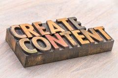 Schaffen Sie Inhaltswortzusammenfassung in der hölzernen Art Stockbilder