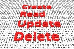 Schaffen Sie lesen Aktualisierungslöschung Stockbild
