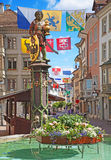 Schaffhausen. Historical center of Schaffhausen decorated with swiss cantons flags for the Swiss National day (1st August Stock Photography