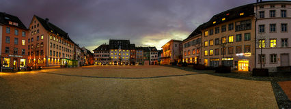 Schaffhausen By Night Panorama Stock Photos