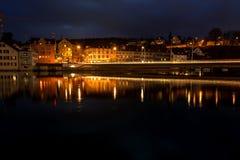 Schaffhausen par nuit Photo libre de droits