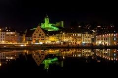 Schaffhausen par nuit Photos stock