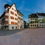 Schaffhausen, SH  / Switzerland - 22 April 2019:  the Herrenackerplatz Square in the historic old town of Schaffhausen in. Switzerland royalty free stock images