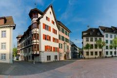 Schaffhausen, SH  / Switzerland - 22 April 2019:  the Herrenackerplatz Square in the historic old town of Schaffhausen in. Switzerland stock images