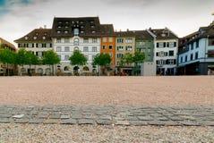 Schaffhausen, SH  / Switzerland - 22 April 2019:  the Herrenackerplatz Square in the historic old town of Schaffhausen in. Switzerland stock photo