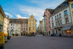 Schaffhausen, SH  / Switzerland - 22 April 2019:the historic fountain and town square in the old town of the Swiss city of. Schaffhausen royalty free stock photography