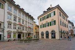 Schaffhausen, SH  / Switzerland - 22 April 2019:the historic Tellenbrunnen fountain and town square in the old town of the Swiss. City of Schaffhausen stock photo