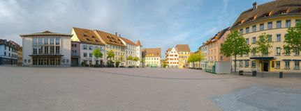 Schaffhausen, SH  / Switzerland - 22 April 2019:  panorama view of the Herrenackerplatz Square in the historic old town of. Schaffhausen in Switzerland royalty free stock photos
