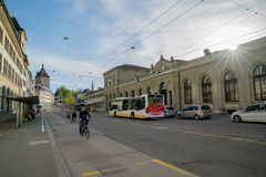 Schaffhausen, SH / Switzerland - 22 April, 2019: train and bus station in Schaffhausen with people commuting and using public. Transport royalty free stock photo